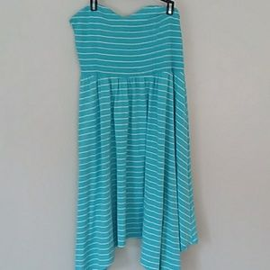 TORRID STRIPED SMOCK STRAPLESS DRESS